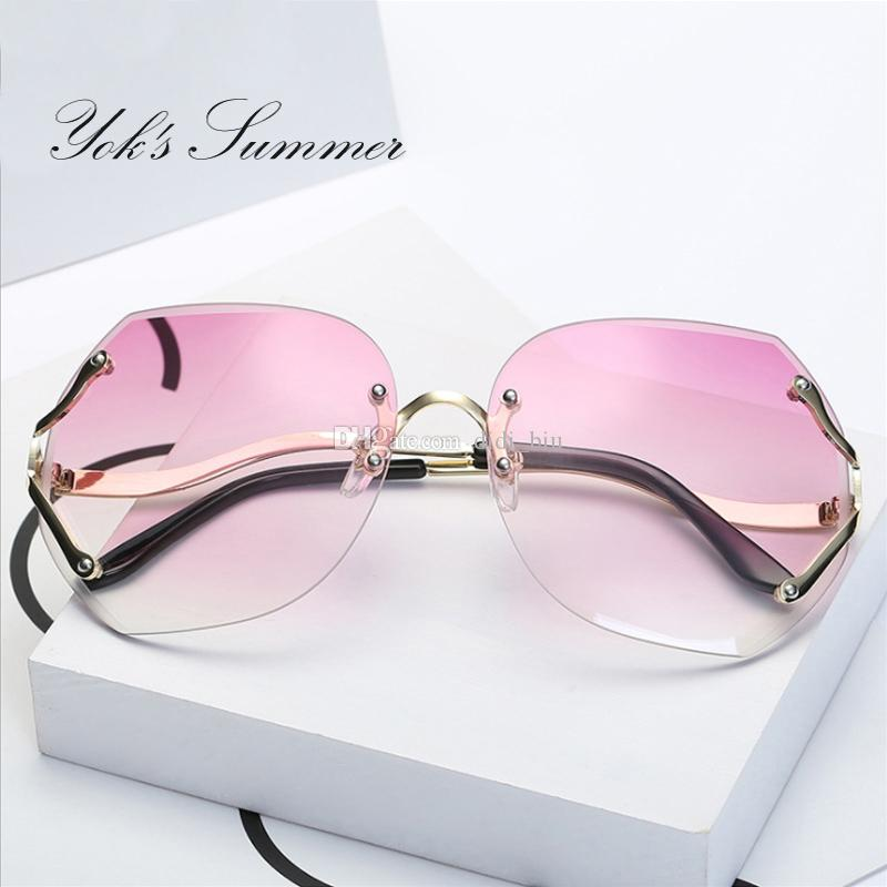 fe77e927d3 Yok s Summer Elegant Pink Sunglasses For Women Brand Rimless Clear ...