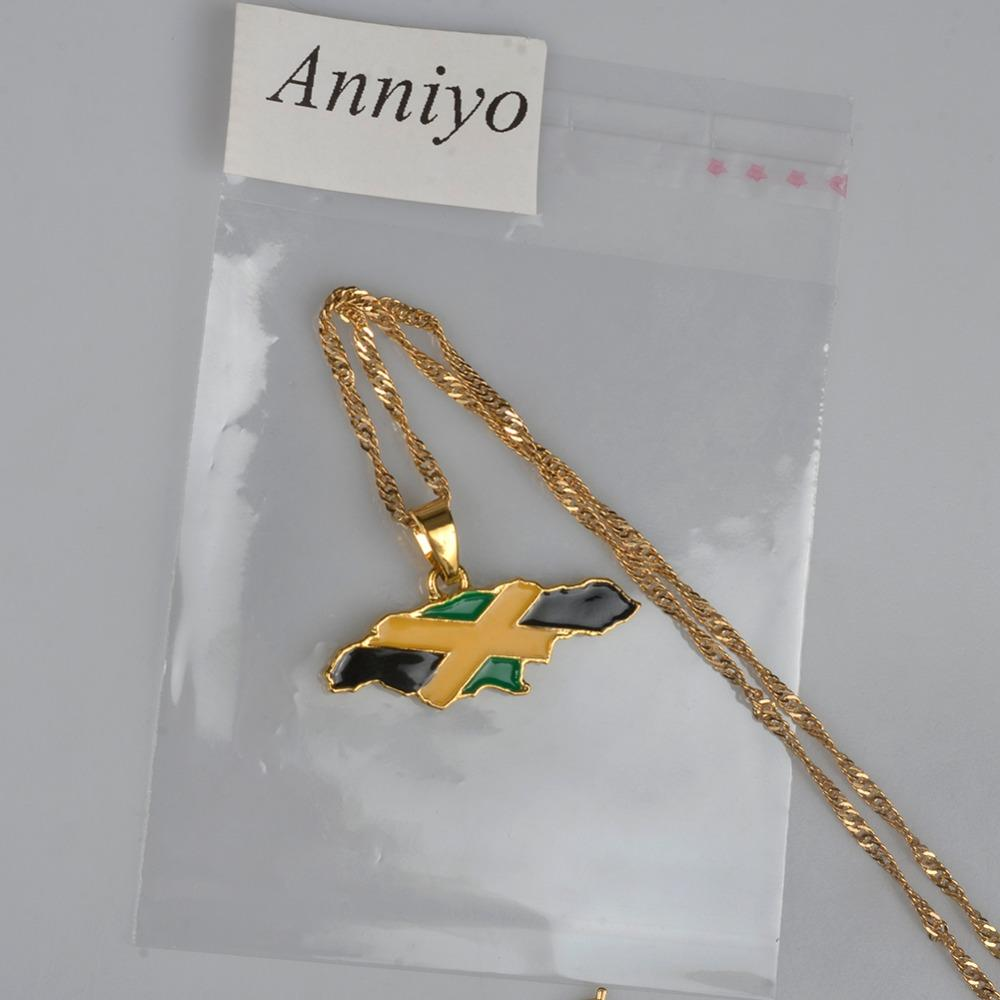 Anniyo Giamaica Mappa e bandiera nazionale Collane con ciondolo Gioielli colore oro Regali giamaicani # 080406