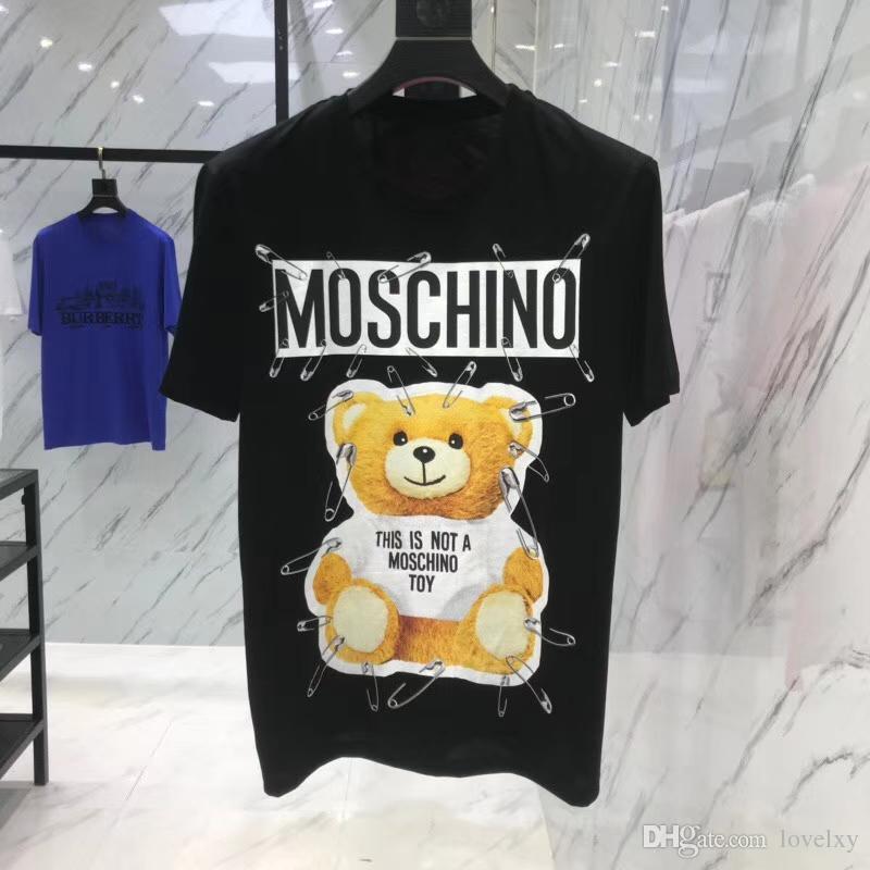 467421eeefae Acheter Hommes 2018 Nouveau Coton T Shirt Manches Courtes Couleur Unie Col  Rond Lettre Ours Ours Imprimer Couple Court T Shirt Livraison Gratuite De   31.83 ...