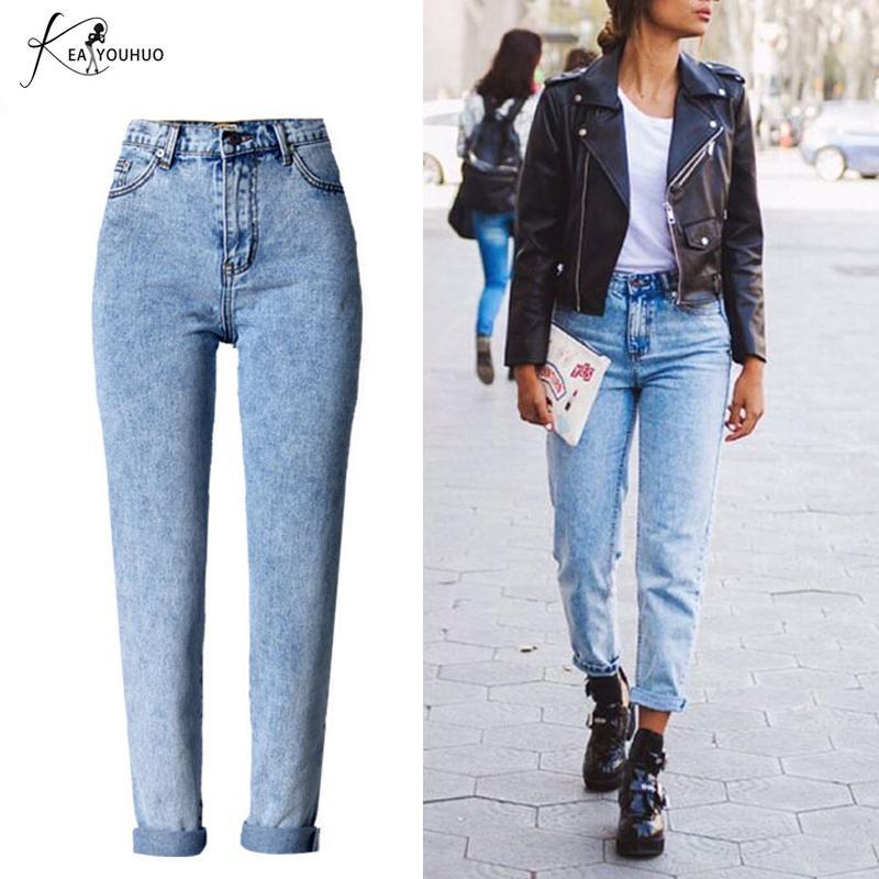 12fd9fe9e8 Compre Verano 2018 Vintage Mujer Boyfriend Jeans Para Mujeres Azul De  Cintura Alta Blanco Recto Denim Sueltos Ladies Jeans Mujer Mamá A  30.89  Del Synthetic ...