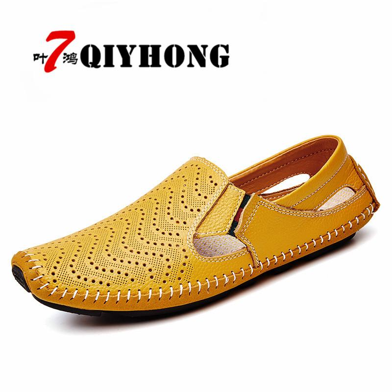 9c0a22da6f29 QIYHONG Brand 2018 New Men Fashion Leather Sandals Plus Size 45 46 47 Casual  Slip-on Summer Shoes Size 38-47 Men s Sandals Cheap Men s Sandals QIYHONG  Brand ...