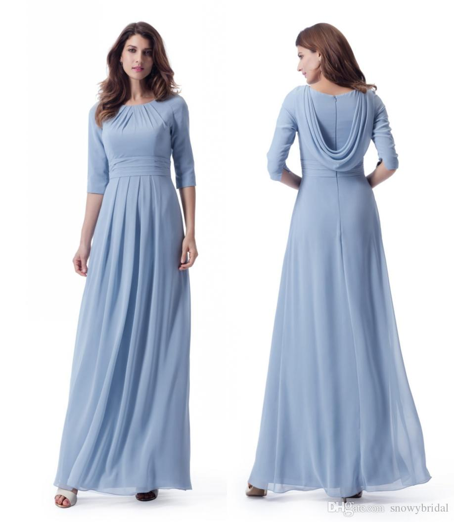 2018 Pastal Blue Long Modest Bridesmaid Dresses With 34 Sleeves ...