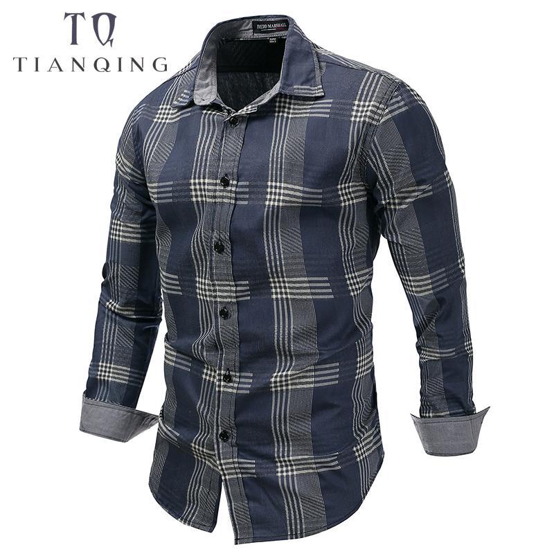 Chemises Chemise Denim Taille Affaires Eur Marque Longues Jean Hauts Carreaux Loisirs Plus Bleu Homme À Robe Hommes Manches Nouveau La 6gbfY7yv