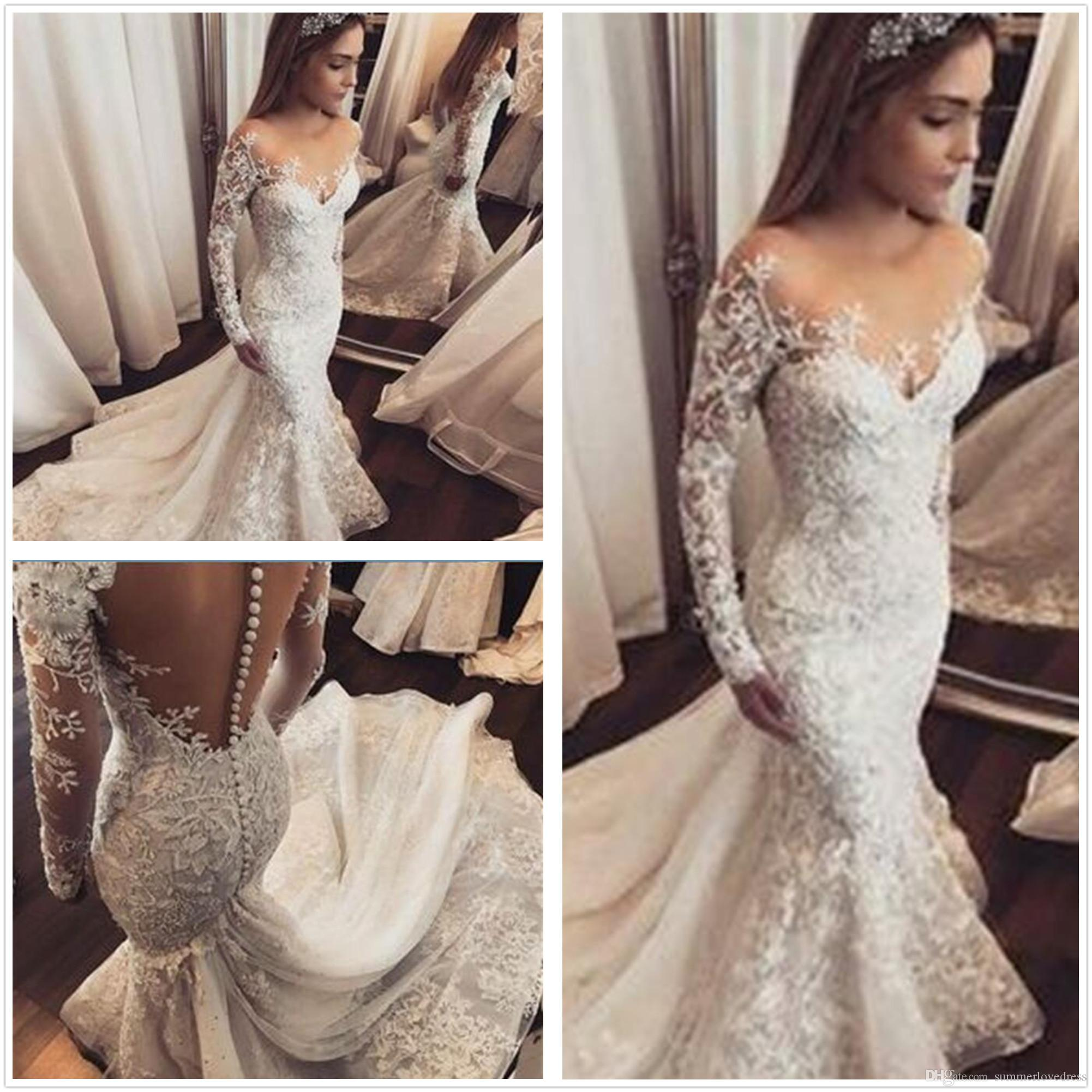 da739b5622f 2018 Sheer Long Sleeves Lace Mermaid Wedding Dresses Tulle Lace Appliques  Bridal Wedding Gowns Vestido De Novia With Buttons Perfect Wedding Dress  Pink ...
