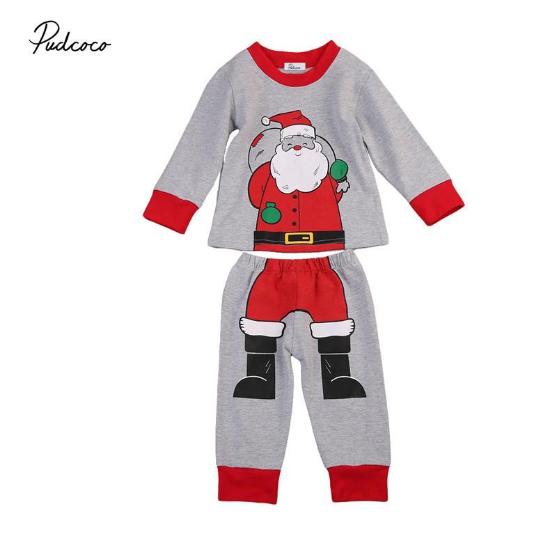 dd622e8d9e1c Cotton Toddler Kids Baby Boys Clothes Long Sleeve Xmas Santa Claus ...