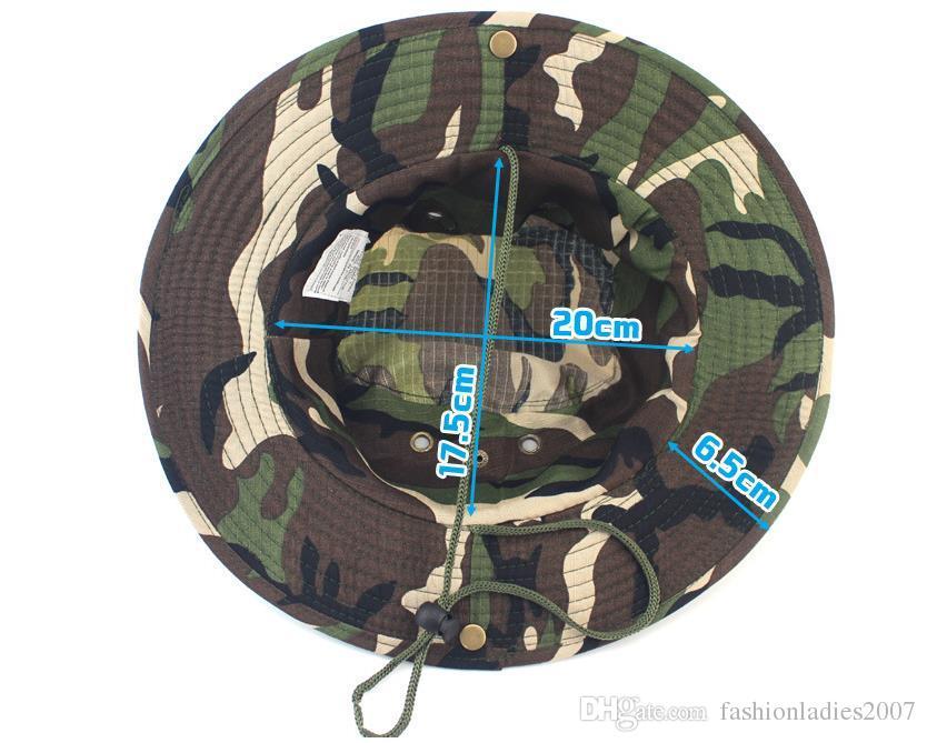 Nuevos Hombres Sombrero de Cubo de Impresión Camuflaje Ala Ancha Sombreros Militares Chin Correa Gorra de Pesca Caza de Caza Protección Solar es