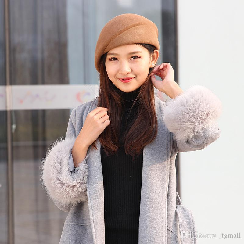 Pure Wool Felt Fascinator Wedding Hat Pillbox Hat For Women Cocktail Party  Vintage Lady Winter Solid Beret Hat Hostesses Cap UK 2019 From Jtgmall 83f89f735b5