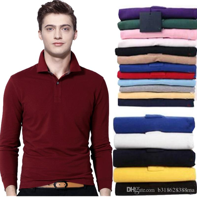 3eb590d5a7b Brand Clothing New Men Embroidery Polo Shirt Men Business   Casual Solid  Male Polo Shirt Long Sleeve Breathable Polo Shirt Polo Polo Shirt Men Polo  Online ...