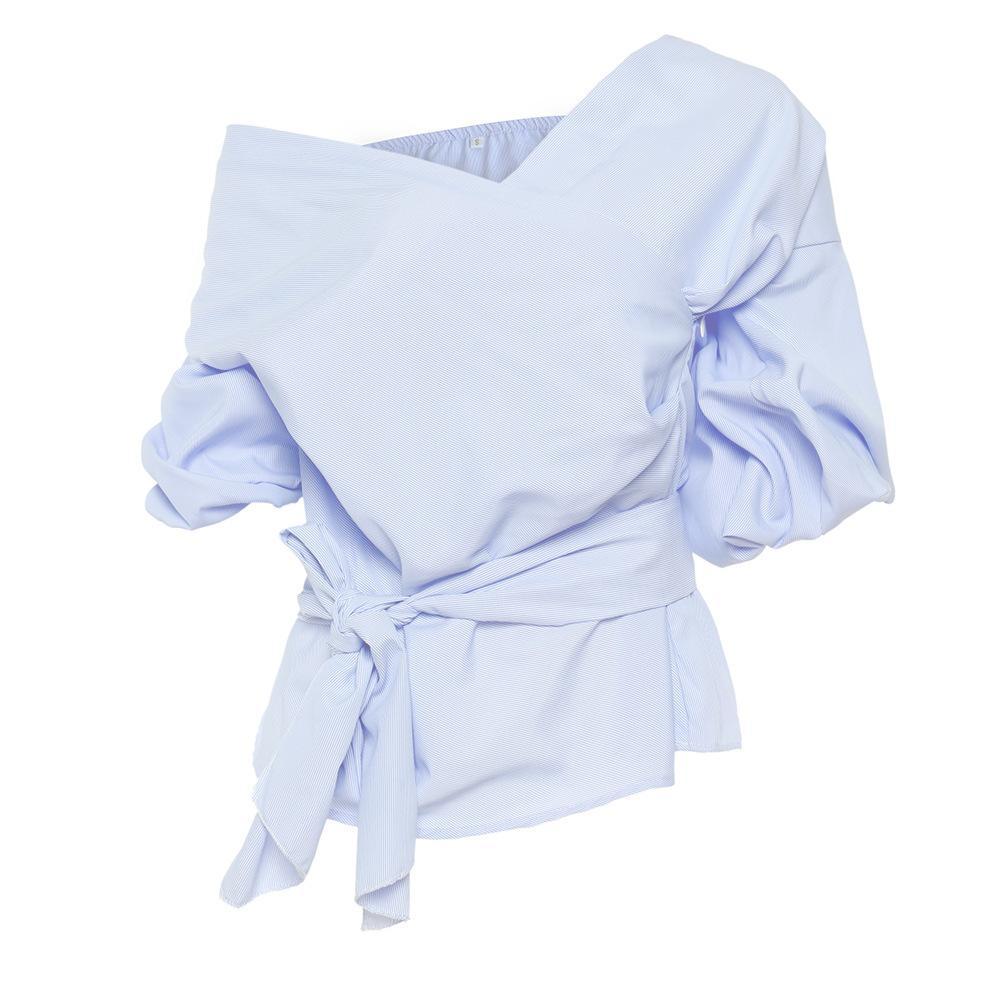 BONJEAN Элегантная галстук-бабочка с открытыми плечами Блузка V-Nevk Пуховик с длинным рукавом Рубашки женские Осенние белые синие топы blusas mujer