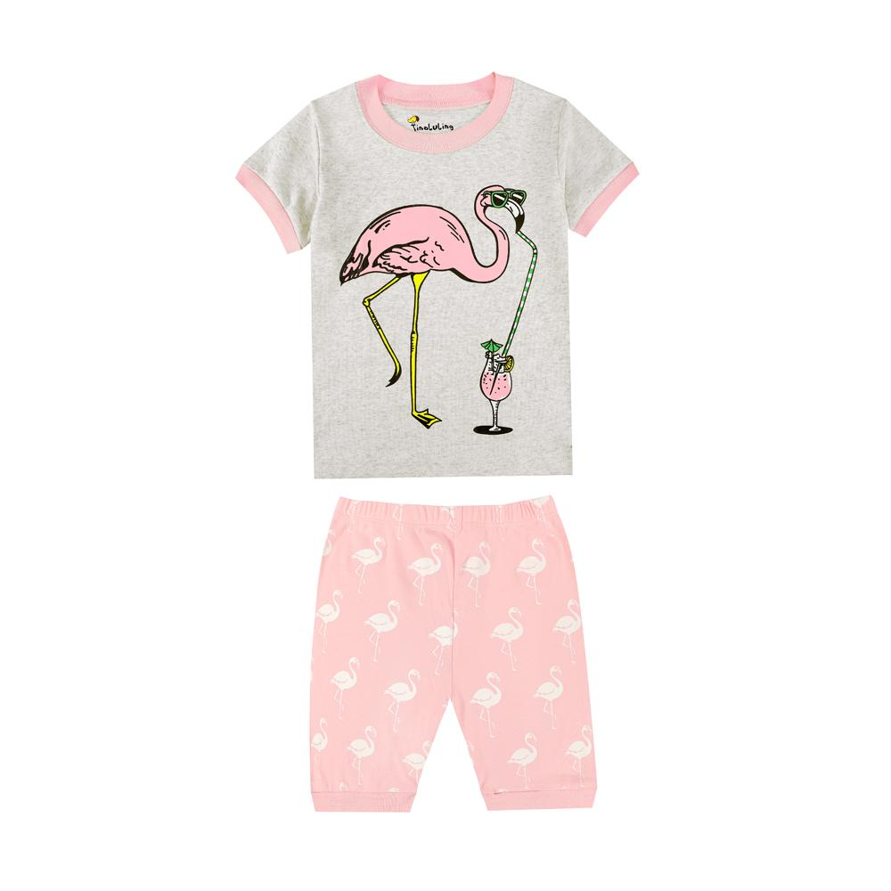 a69030bca2 100 Cotton Short Sleeve Flamingos Girls Pajamas Children S Summer Clothing  Baby Wears Kids Clothes For 1 8 Years Baby Nightwear Kids Christmas Pyjamas  ...