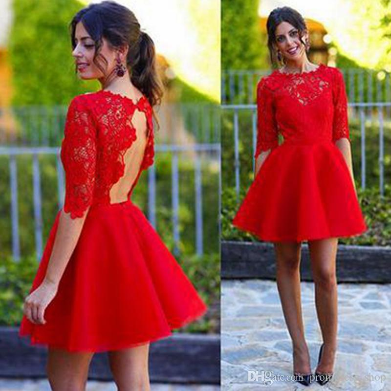 2020 New Arrival A-Line Red Lace Half Sleeve Short Prom Homecoming Dresses Short Formal Party Dresses Open Back Custom Made
