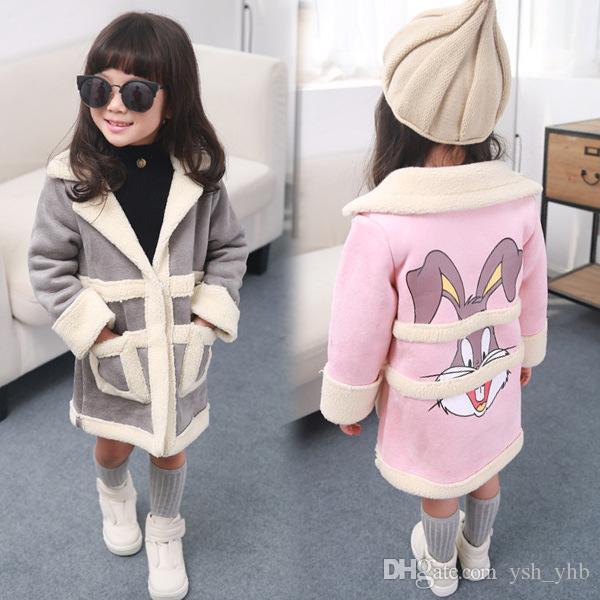 Kids Artificial Fur Jacket Autumn Winter Rabbit Print Coat Baby