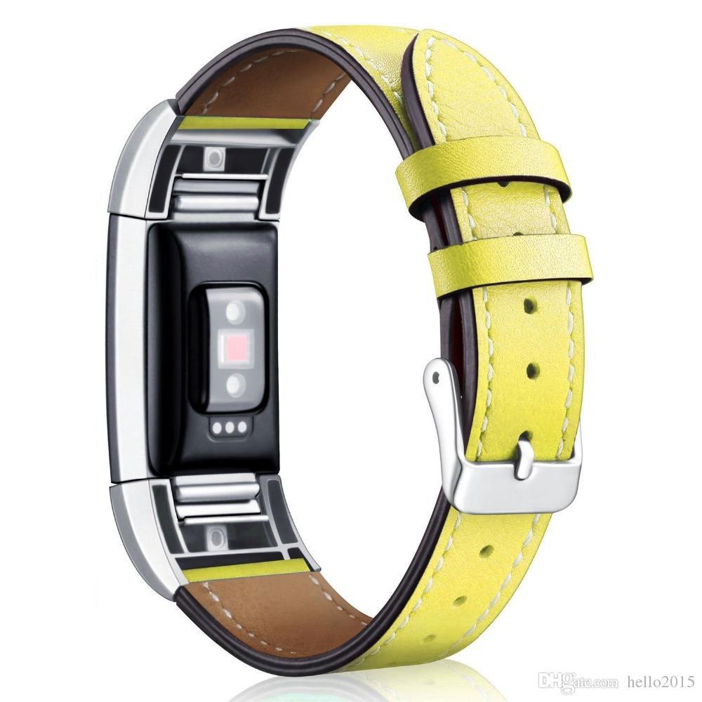 Fitbit Şarj 2 için Yedek Bantlar Metal Konnektörler ile Klasik Hakiki Deri Bileklik, Şarj için Spor Askı 2