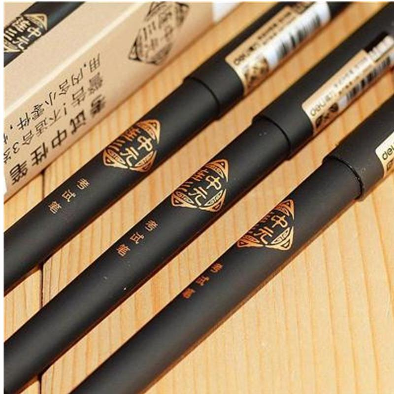 Deli Stationery Gel Ink pen 0.5mm Needle tube gel pens writing Retro style black pen refills Ancient Chinese elements n