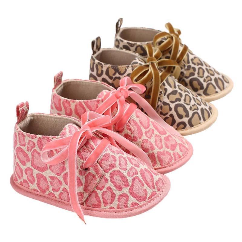 e27ba50f5e3719 Newborn Baby Infant Toddler Shoes Leopard Print Lace-Up Soft Kids ...