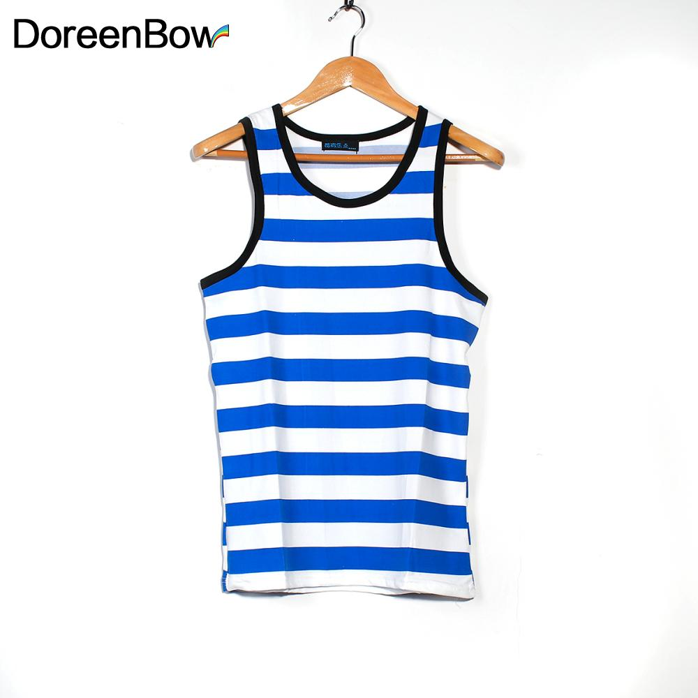 DoreenBow Men Striped Tank Top Male Stringers Sleeveless Top Tees Shirts Male Tank Top Singlets Mens Gasp Tank Shirt Muscle
