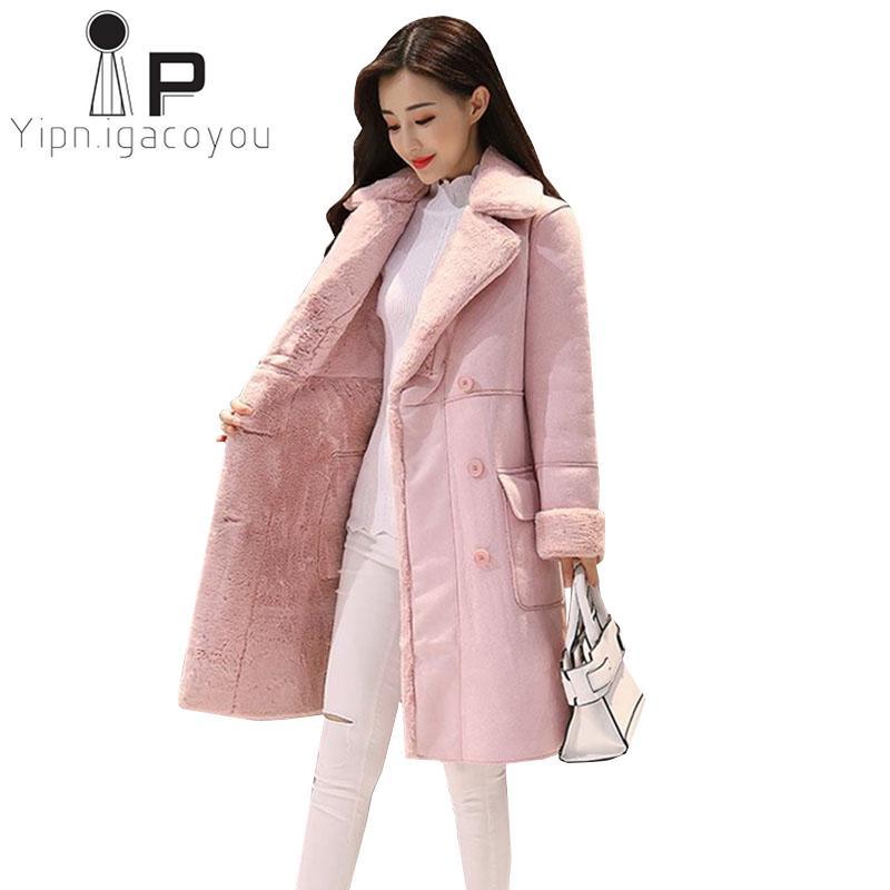 Mujer Botonadura Más Casual Tamaño La Compre Coreano Doble De Las Rosa El Abrigo Moda Damas Invierno Espesar Cálido Mujeres Largo Chaqueta 1zZwxqza