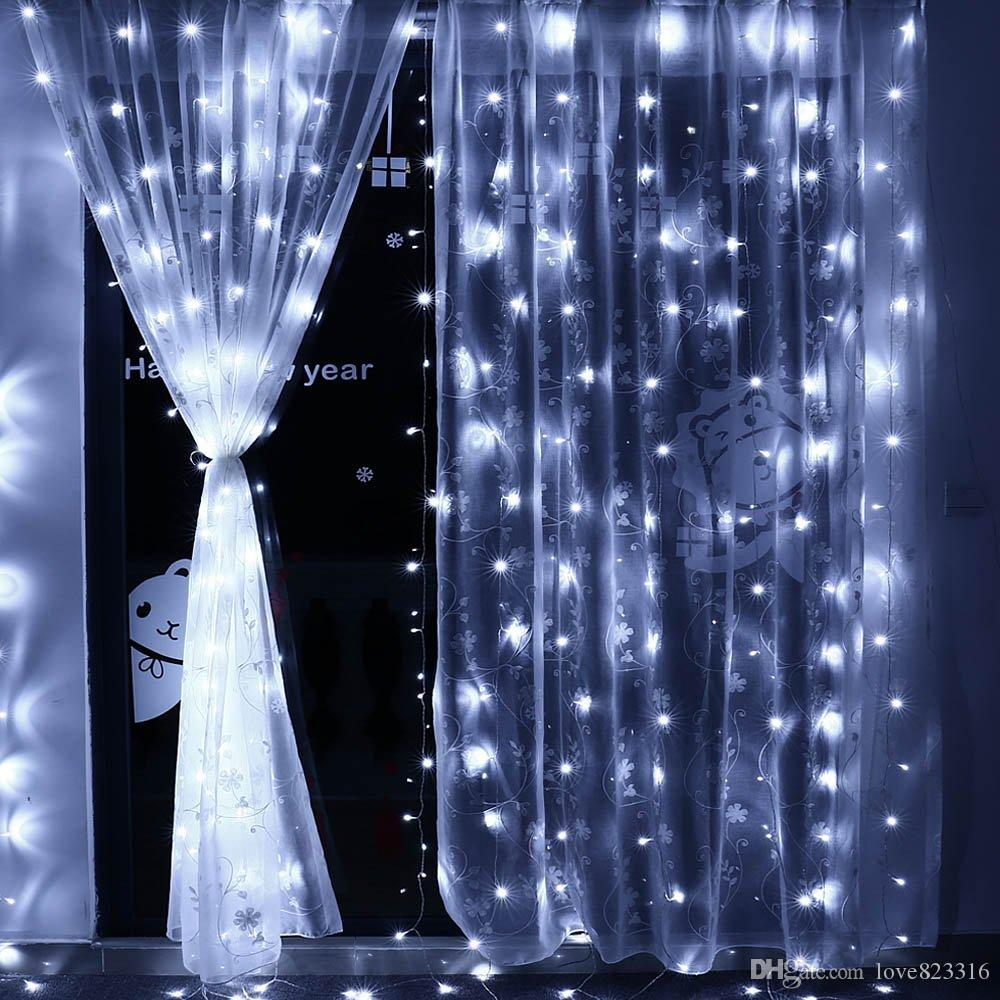 102m 82m 62m Led Window Curtain Lights Fairy Christmas String Light For Wedding Holiday Home Patio Bedroom Decoration White