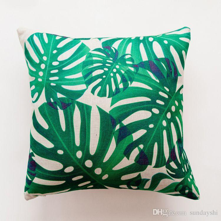 Cotton And Hemp Tropical Rain Forest Leaves Cactus Printing Cushion