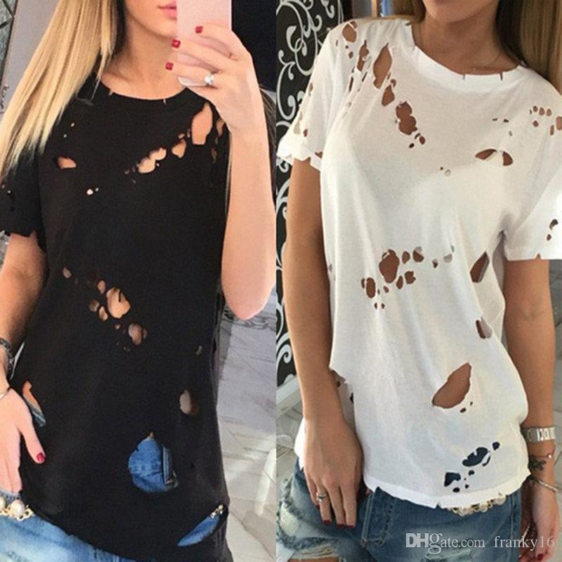 2018 Verano Mujer Camiseta de Algodón Tamaño S-3XL Hoyo Camiseta de Manga Corta Diseño de Moda Femenina Tops Destroy T-shirt