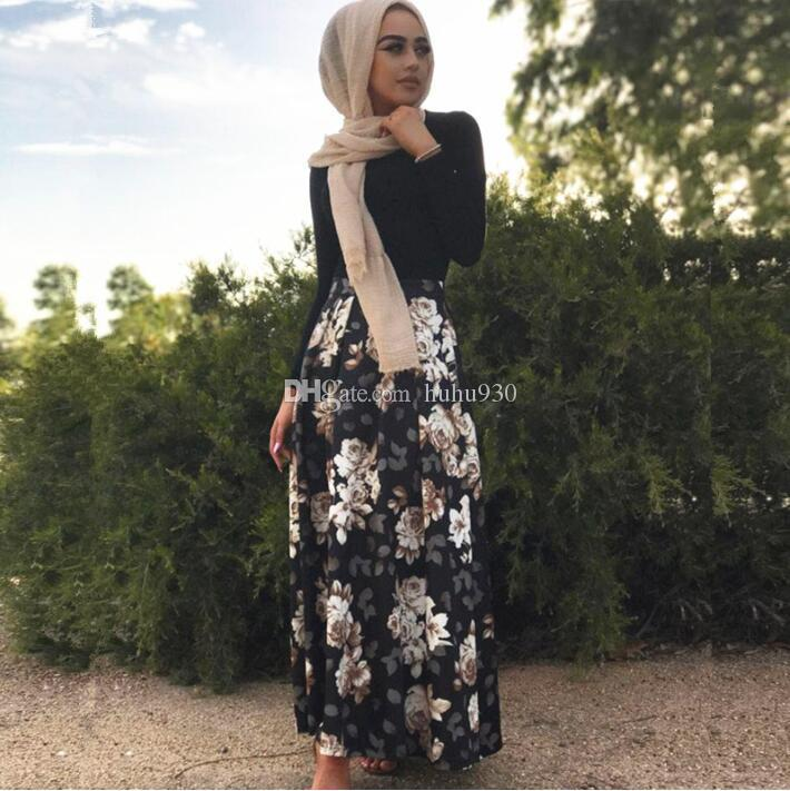 1641e3ab11 2019 2018 Floral Printed Long Muslim Skirt Sexy Turkish Arab Dubai Islamic  Clothing Maxi Pleated Skirt Female Plus Size S XXL From Huhu930, $13.33 |  DHgate.
