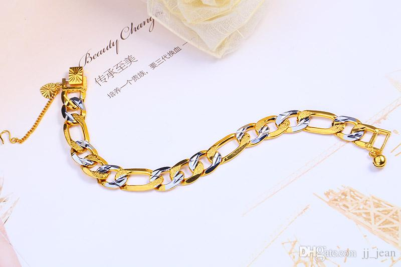 100% Cooper Bracelet 12MM 7.8 Inches Rhodium Plated Jewelry For Men Women Gold Color Bracelets Wholesale Curb Cuban Chain