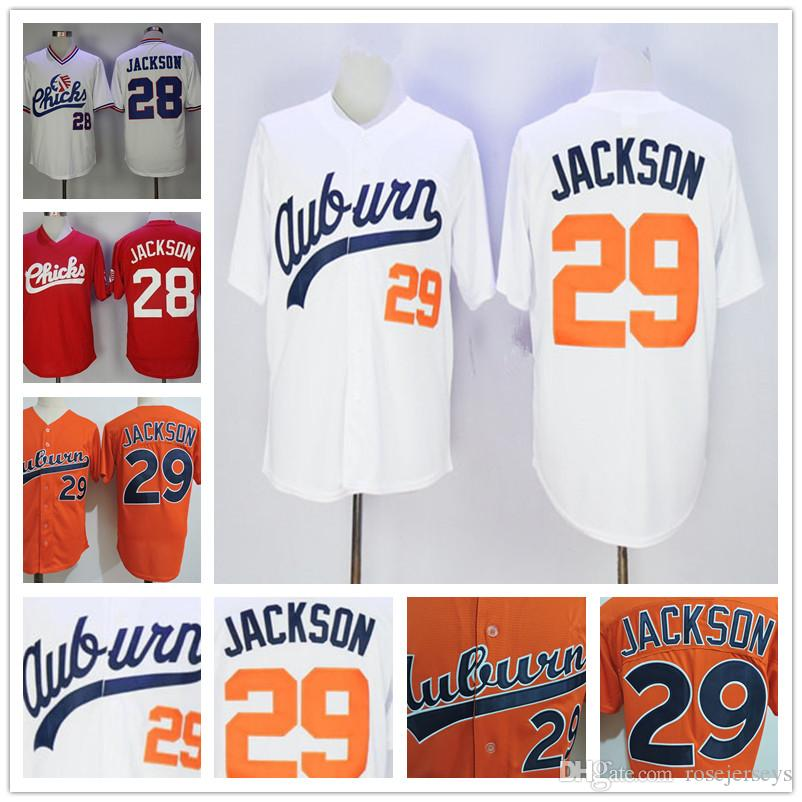 Auburn Tigers College Baseball #29 Bo Jackson Orange White Vintage 1986 Retro Memphis Chicks #28 red Stitched Jersey Free Shipping S-3XL