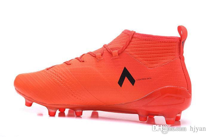 2017 new ACE 17+ PureControl men football shoes high quality Top level shoe match flame color FG pin mens soccer shoes