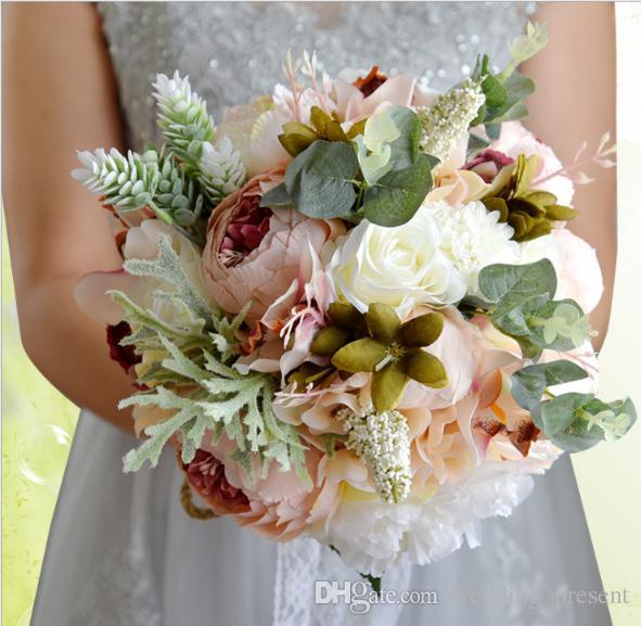 Buquês De Noiva De Casamento barato Flores Artificiais Para O Casamento Do Casamento Da Dama de Honra Bouquets com Strass Cristal Noiva Segurando Broche Buquê
