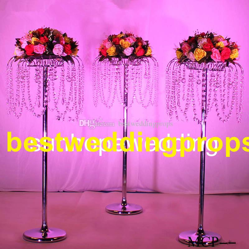 Hot sell cylinder lampshade pillar candle holder acrylic crystal wedding candelabra best0444