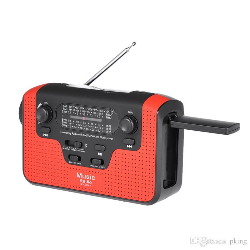RD388 Energía solar Radio Bluetooth Música Altavoz Reproductor de MP3 Cargador de teléfono móvil FM AM con linterna LED Tarjeta de alerta TF