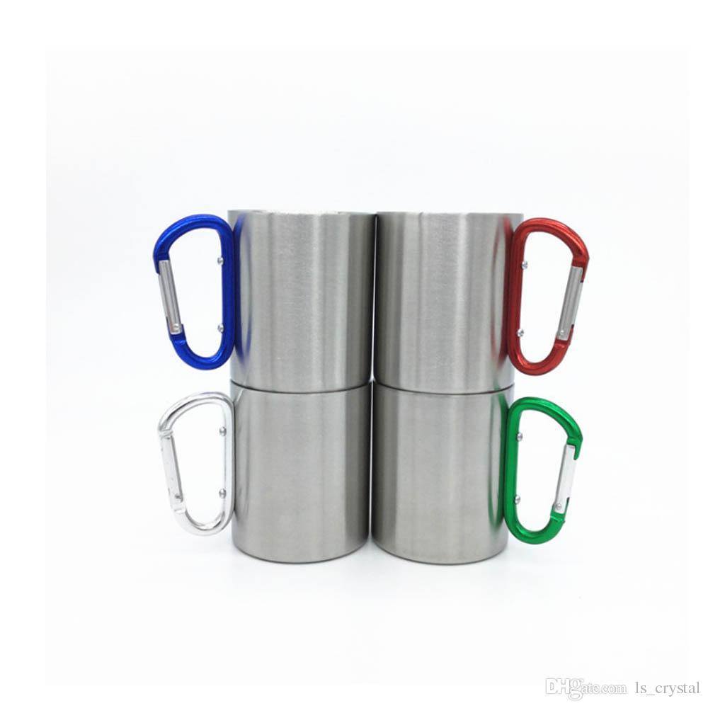 220 ml 300 ml 350 ml 450 ml Taşınabilir Açık Seyahat Kupa Kamp Piknik Su Bardağı Kanca Kolu ile Açık Şişe DEC361