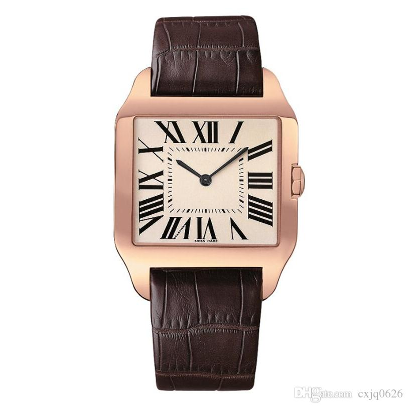 New mens watches Gentalmen luxury brand watches women fashion wristwatch leather brown square dial Female Relogio Montre Femme Lovers clock