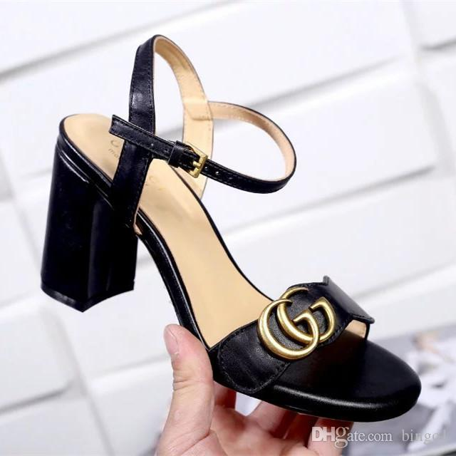 Newest Luxury Brand Women Leather Mid-heel Sandal Adjustable Ankle Strap 8CM High Chunky Sandal Shoes Size35-40 for sale the cheapest cheap sale looking for 5OGlI2YU7c