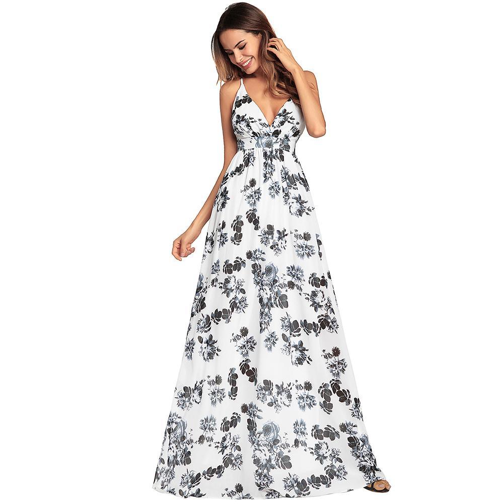 Großhandel Mode Frauen Langes Halter Kleid Weiblicher Blumendruck ...