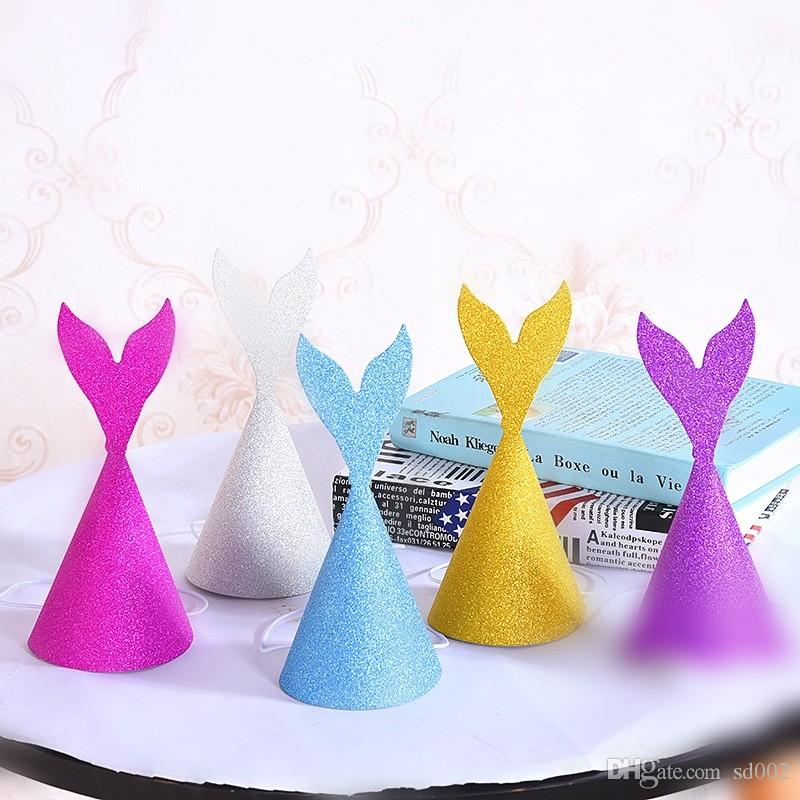 Paper Birthday Party Hats Gold Powder Mermaid Tail Cap DIY Lovely For Adults Children Headwear Fashion 1 2dy CB Baby First Hat Girl