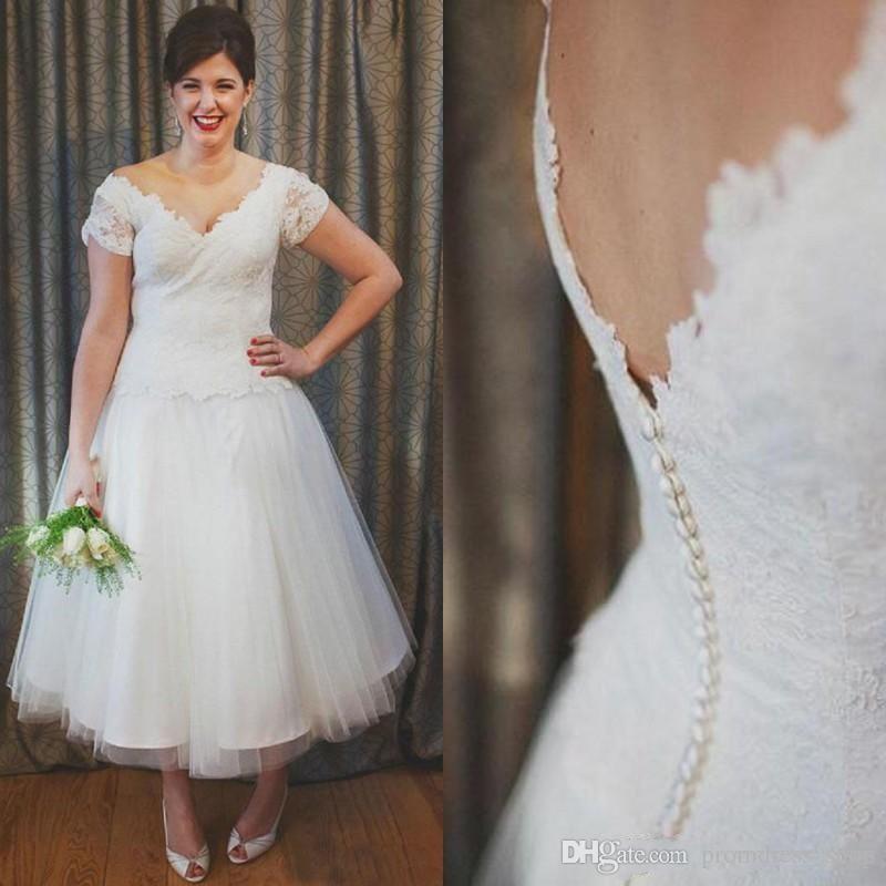 compre elegante 2019 cortos vestidos de boda del país de la playa