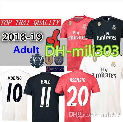 3bc9b3e0aa65c 18 19 Camiseta De Fútbol Del Real Madrid 2018 2019 RONALDO Asensio BALE  ISCO Real Madrid Maillot Camiseta De Fútbol De La Liga De Campeones  Uniforme Por ...