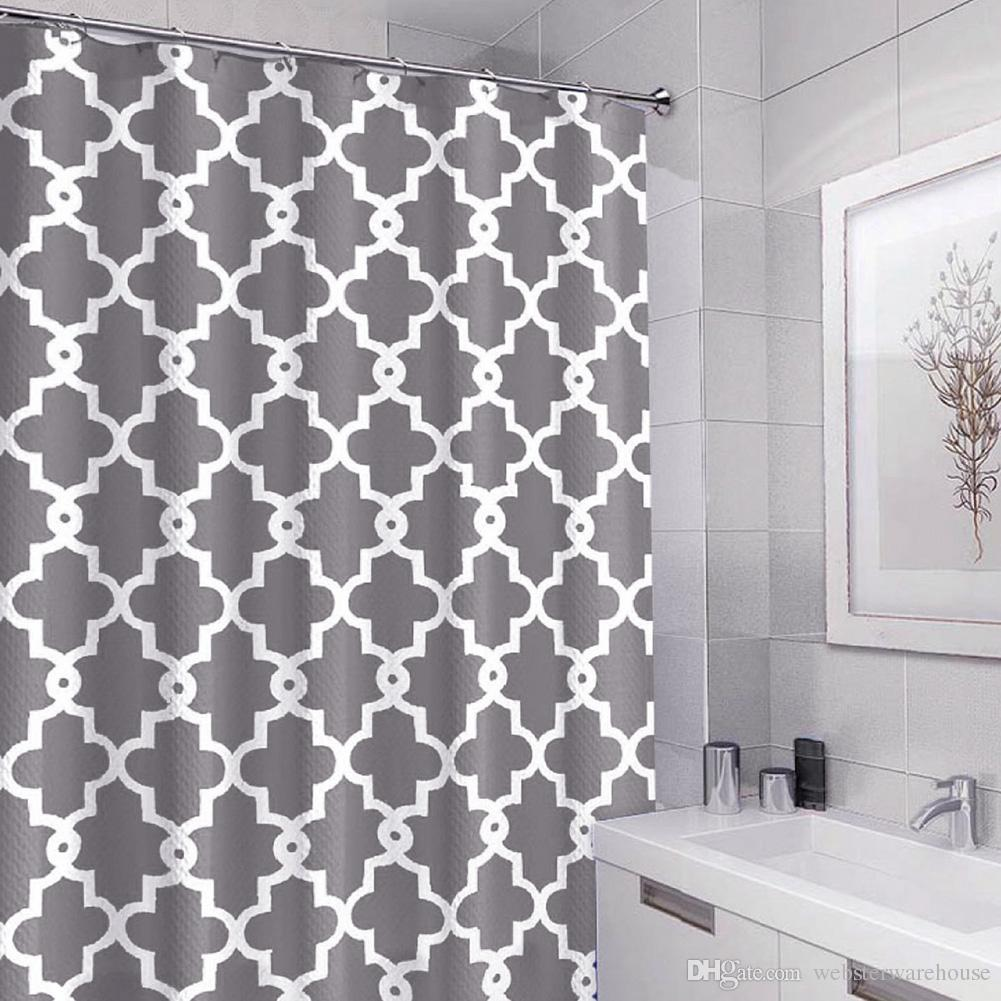 72 X 72 Inch Grey Geometric Patterned Shower Curtain Liner ...