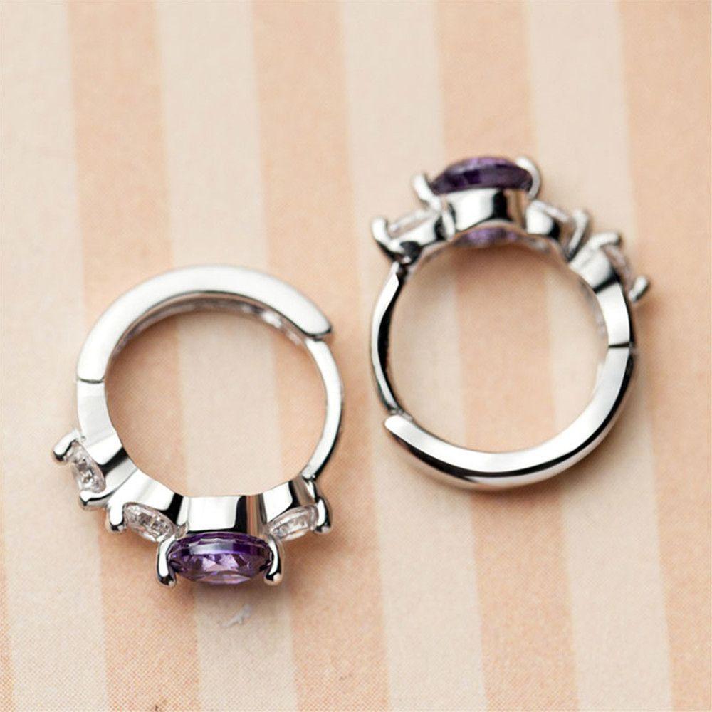 Temperament simple personnalité boucles d'oreilles diamant violet boucles d'oreilles atmosphériques nobles allergie