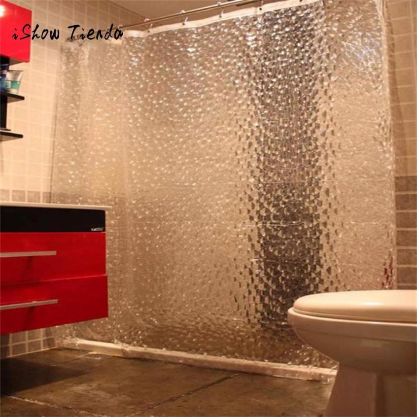 2018 Bathroom Large 3d Shower Curtain Clear Plastic Eva Diamond ...