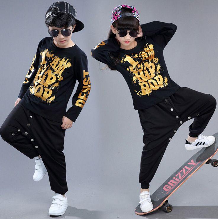 4ea3457f6 2019 Boys Girls Loose Cotton Ballroom Modern Jazz Hip Hop Dance ...