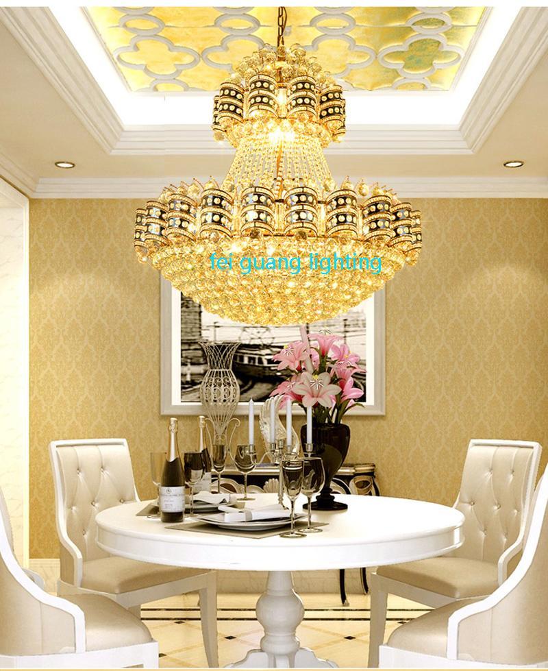 European-style living room large chandelier luxury villa hotel lobby penthouse floor crystal lamp simple modern chandelier