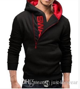 MENS Oblique Zipper Contrast Color Hooded Sweatshirts Tops Casual Sweaters Fashion Slim Pullover Hoodies T-shirt Letter Print