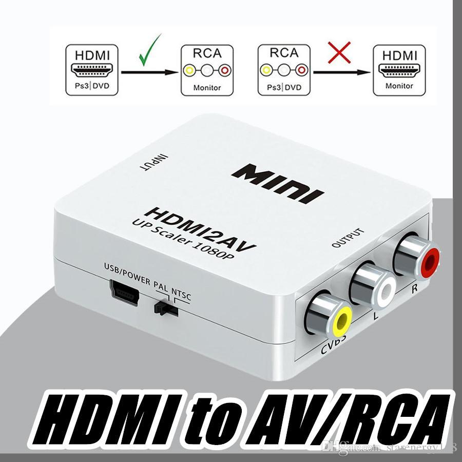 Ryddig DHL Mini HDMI To AV/RCA Converter Composite HDMI To RCA AV Adapter LF-04