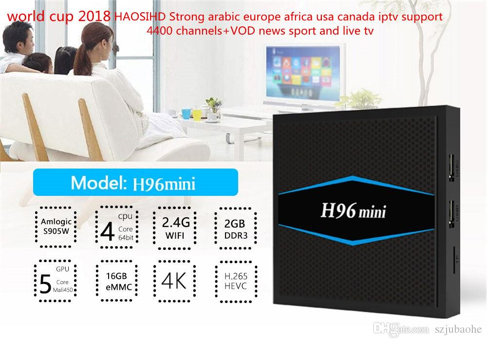 Super IPTV Subscription H96mini smart Android tv box Arabia /USA/  Canada/France/UK/Italy / German iptv 4400channels+Live TV and VOD