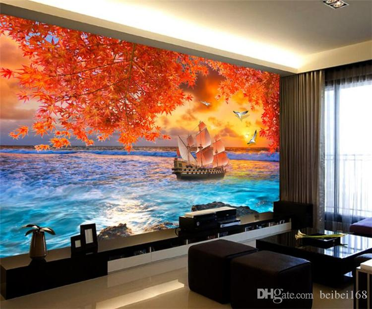 Lucky Boat Leaft Autumn Sea Photo Wall Mural Wallpapers For Living Room Bedroom Wall Paper Home Wall Decor 3d Murals Wallpapers Beautiful Wallpapers Bedroom Wallpaper From Beibei168 17 59 Dhgate Com