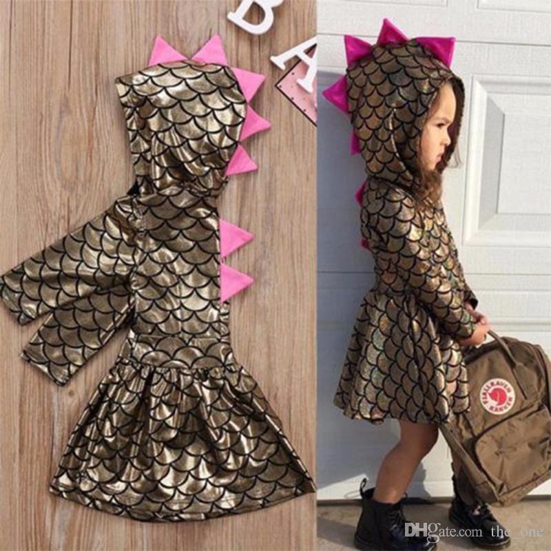 Новорожденный ребенок девочки одежда для малышей дети Рождество русалка динозавр шкала платья девушка с капюшоном платье костюм платье