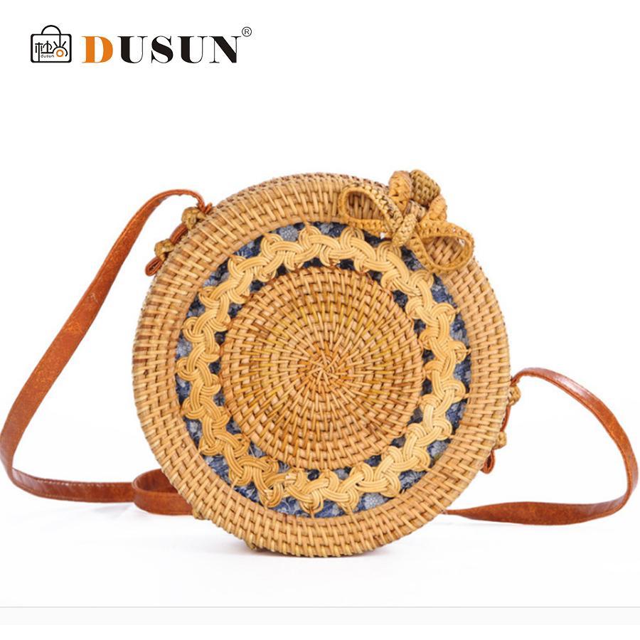 DUSUN Summer Bali Hand-Woven Rattan Bag Embroidery Shoulder Crossbody Bags  Beach Straw Bag Bohemian Knitting Circular Handbags D18100701 Online with  ... ca5a76feac7fd