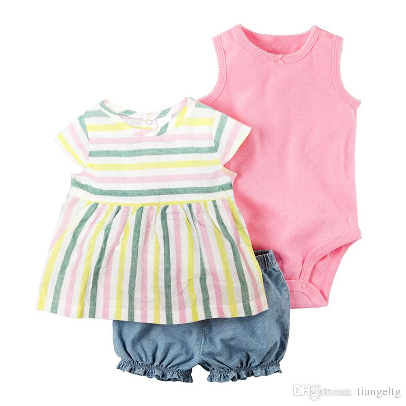 Newborn Baby Rompers Suits 100% Cotton 22 Designs Colorful Striped Embroidery Flora Cartoon Dots T-Shirt+Triangle Romper+Shorts